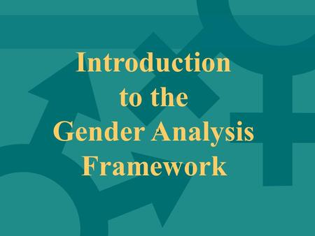 Gender Analysis Framework