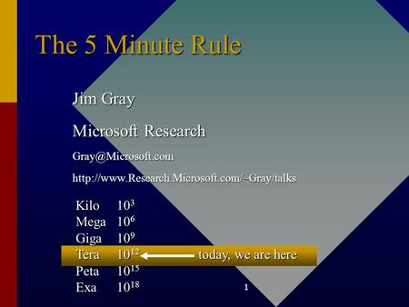 1 The 5 Minute Rule Jim Gray Microsoft Research Kilo10 3 Mega10 6 Giga10 9 Tera10 12 today,