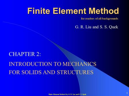 INTRODUCTION TO MECHANICS FOR SOLIDS AND STRUCTURES