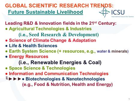 1 GLOBAL SCIENTIFIC RESEARCH TRENDS: Future Sustainable Livelihood Leading R&D & Innovation fields in the 21 st Century: Agricultural Technologies & Industries.