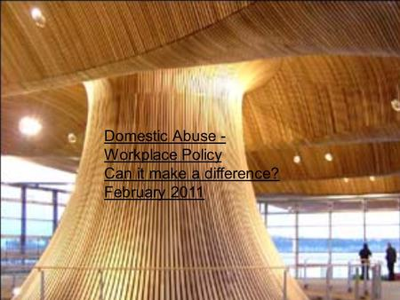 Domestic Abuse - Workplace Policy Can it make a difference? February 2011.