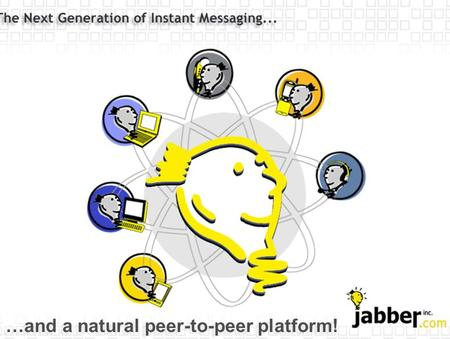 …and a natural peer-to-peer platform!. Jabber as P2P Platform Agenda Why spend time in this session? What is Jabber? Who cares about Jabber? How does.
