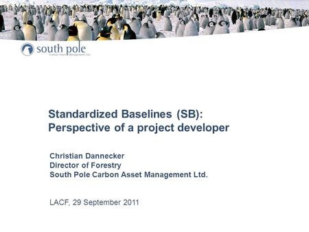 Standardized Baselines (SB): Perspective of a project developer Christian Dannecker Director of Forestry South Pole Carbon Asset Management Ltd. LACF,