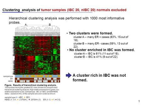 1 Clustering analysis of tumor samples (IBC 20, nIBC 20) normals excluded sample type ER HER2 AB Figure. Results of hierarchical clustering analysis. 1000.