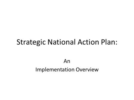 Strategic National Action Plan: An Implementation Overview.