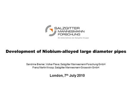 Development of Niobium-alloyed large diameter pipes