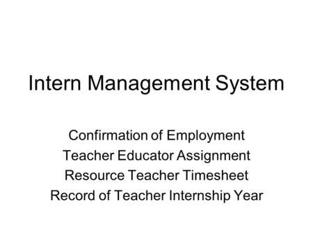 intern management system interns modules resource teacher timesheet
