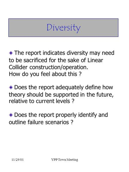 11/29/01YPP Town Meeting The report indicates diversity may need to be sacrificed for the sake of Linear Collider construction/operation. How do you feel.