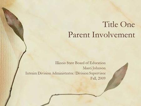 Title One Parent Involvement
