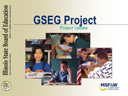 GSEG Project Project Update. Topics n Data Requirements and Recommendations n Assessment of Local Data Quality.