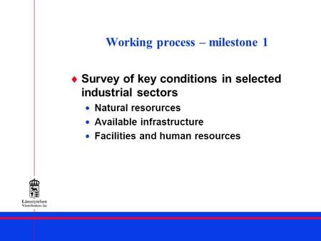 Working process – milestone 1 Survey of key conditions in selected industrial sectors Natural resorurces Available infrastructure Facilities and human.