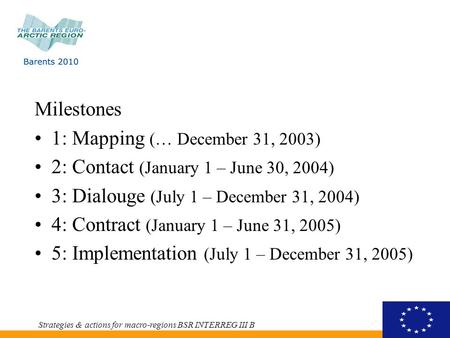 Milestones 1: Mapping (… December 31, 2003) 2: Contact (January 1 – June 30, 2004) 3: Dialouge (July 1 – December 31, 2004) 4: Contract (January 1 – June.