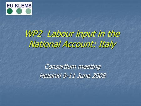 WP2 Labour input in the National Account: Italy Consortium meeting Helsinki 9-11 June 2005.