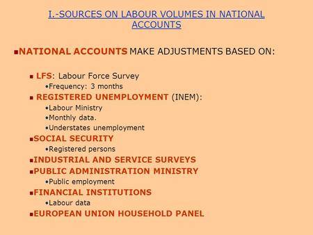 I.-SOURCES ON LABOUR VOLUMES IN NATIONAL ACCOUNTS NATIONAL ACCOUNTS MAKE ADJUSTMENTS BASED ON: LFS: Labour Force Survey Frequency: 3 months REGISTERED.