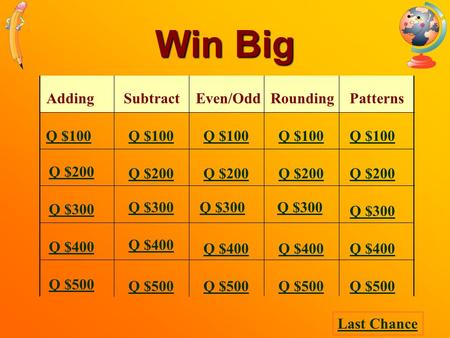 Win Big AddingSubtractEven/Odd Rounding Patterns Q $100 Q $200 Q $300 Q $400 Q $500 Q $100 Q $200 Q $300 Q $400 Q $500 Last Chance.