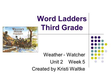 Word Ladders Third Grade Weather - Watcher Unit 2 Week 5 Created by Kristi Waltke.