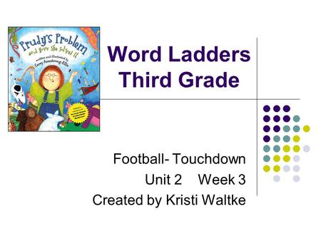 Word Ladders Third Grade Football- Touchdown Unit 2 Week 3 Created by Kristi Waltke.