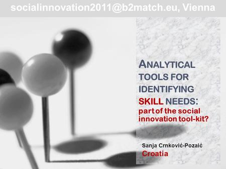A NALYTICAL TOOLS FOR IDENTIFYING SKILL NEEDS : part of the social innovation tool-kit? Sanja Crnković-Pozaić Croatia