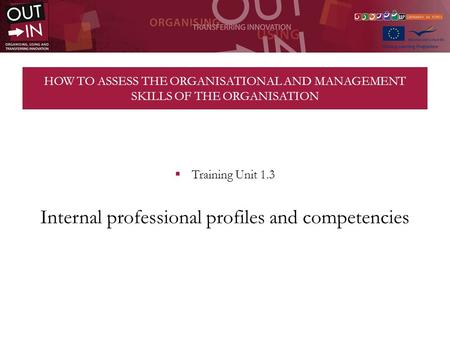 HOW TO ASSESS THE ORGANISATIONAL AND MANAGEMENT SKILLS OF THE ORGANISATION Training Unit 1.3 Internal professional profiles and competencies.