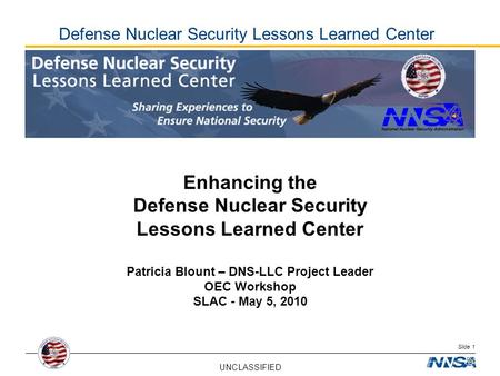 Defense Nuclear Security Lessons Learned Center