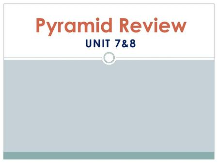 Pyramid Review UNIT 7&8. UNIT 7 CATEGORY 1 TITLE Word 1 Word 2 Word 3 Word 4 Word 5.