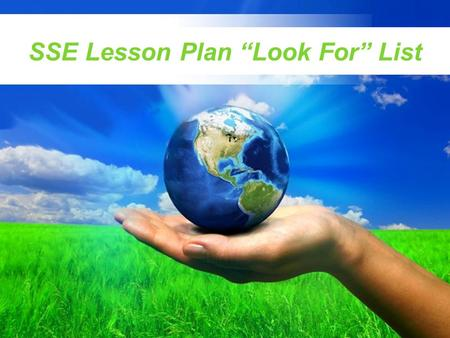 "SSE Lesson Plan ""Look For"" List"
