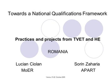 Vienna, 21-22 October 2005 Towards a National Qualifications Framework Practices and projects from TVET and HE ROMANIA Lucian Ciolan Sorin Zaharia MoER.