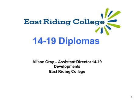 1 14-19 Diplomas Alison Gray – Assistant Director 14-19 Developments East Riding College.