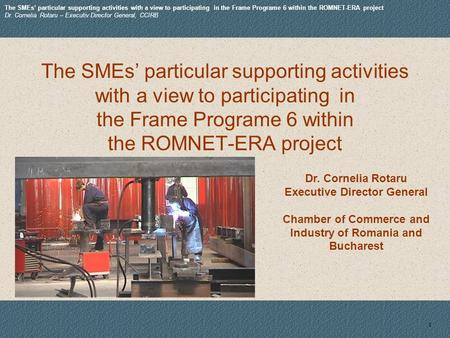 1 Dr. Cornelia Rotaru Executive Director General Chamber of Commerce and Industry of Romania and Bucharest The SMEs particular supporting activities with.