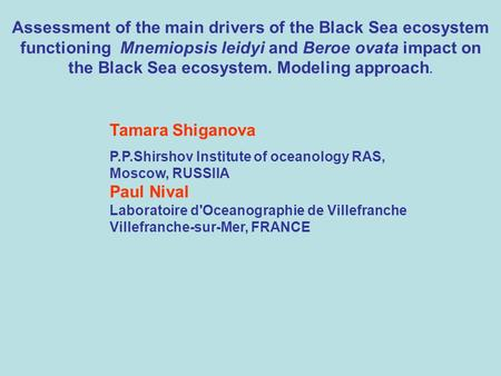 Assessment of the main drivers of the Black Sea ecosystem functioning Mnemiopsis leidyi and Beroe ovata impact on the Black Sea ecosystem. Modeling approach.