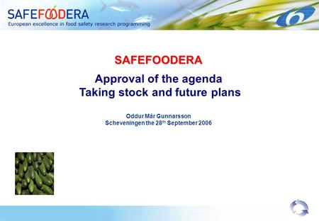 SAFEFOODERA Approval of the agenda Taking stock and future plans Oddur Már Gunnarsson Scheveningen the 28 th September 2006.