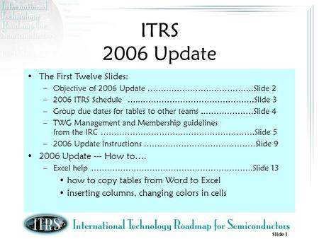 Slide 1 ITRS 2006 Update The First Twelve Slides: –Objective of 2006 Update ………………………………….Slide 2 –2006 ITRS Schedule …..…………………………………….Slide 3 –Group.