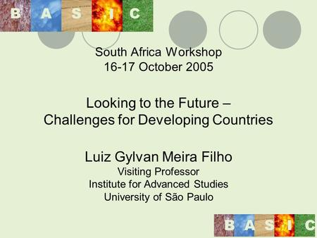 South Africa Workshop 16-17 October 2005 Looking to the Future – Challenges for Developing Countries Luiz Gylvan Meira Filho Visiting Professor Institute.