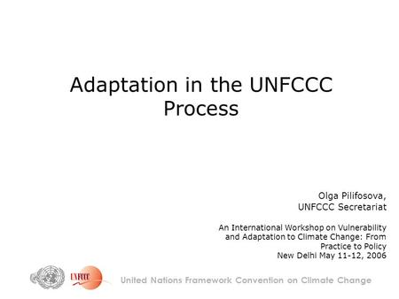 Adaptation in the UNFCCC Process United Nations Framework Convention on Climate Change Olga Pilifosova, UNFCCC Secretariat An International Workshop on.