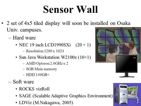 2 set of 4x5 tiled display will soon be installed on Osaka Univ. campuses. –Hard ware NEC 19 inch LCD1990SXi (20 + 1) –Resolution 1280 x 1024 Sun Java.