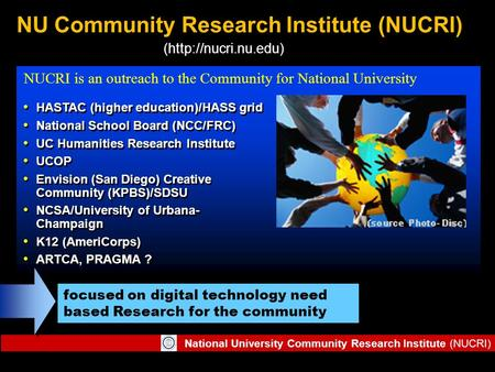 National University Community Research Institute (NUCRI) NU Community Research Institute (NUCRI) HASTAC (higher education)/HASS grid National School Board.
