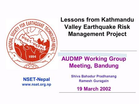 Lessons from Kathmandu Valley Earthquake Risk Management Project