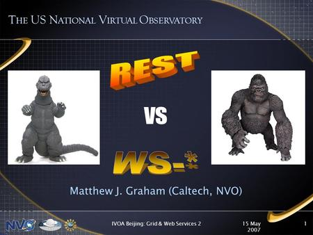 15 May 2007 IVOA Beijing: Grid & Web Services 21 Matthew J. Graham (Caltech, NVO) T HE US N ATIONAL V IRTUAL O BSERVATORY vs.
