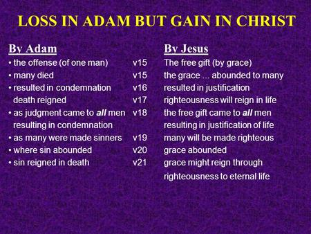 LOSS IN ADAM BUT GAIN IN CHRIST By AdamBy Jesus the offense (of one man)v15 The free gift (by grace) many died v15the grace... abounded to many resulted.