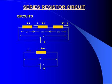 SERIES RESISTOR CIRCUIT. THE EQUIVALENT SERIES RESISTANCE IS : Req = R 1 + R 2 + R 3 THE CURRENT OF THE CIRCUIT IS : I = U / (R 1 + R 2 + R 3 ) THE EQUIVALENT.