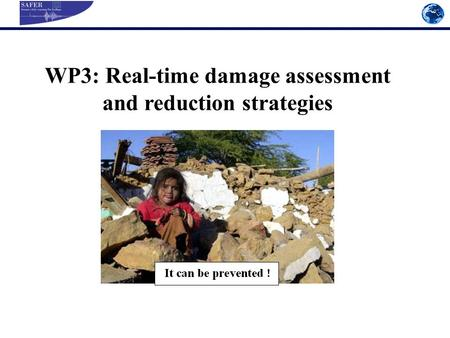 WP3: Real-time damage assessment and reduction strategies.