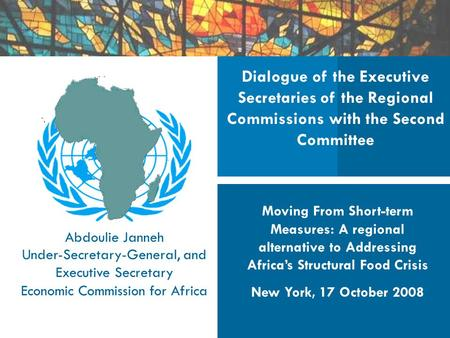 Dialogue of the Executive Secretaries of the Regional Commissions with the Second Committee Moving From Short-term Measures: A regional alternative to.