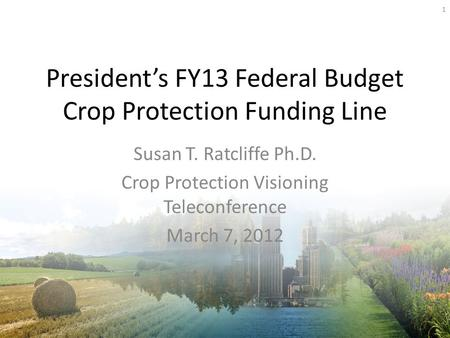 Presidents FY13 Federal Budget Crop Protection Funding Line Susan T. Ratcliffe Ph.D. Crop Protection Visioning Teleconference March 7, 2012 1.