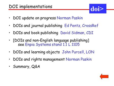 DOI update on progress Norman Paskin DOIs and journal publishing Ed Pentz, CrossRef DOIs and book publishing David Sidman, CDI [DOIs and non-English language.