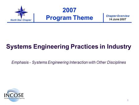 Chapter Overview 14 June 2007 North Star Chapter 1 2007 Program Theme Systems Engineering Practices in Industry Emphasis - Systems Engineering Interaction.