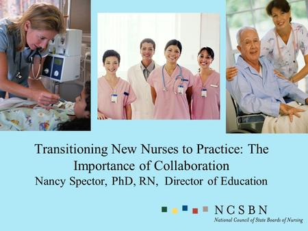 Transitioning New Nurses to Practice: The Importance of Collaboration Nancy Spector, PhD, RN, Director of Education.