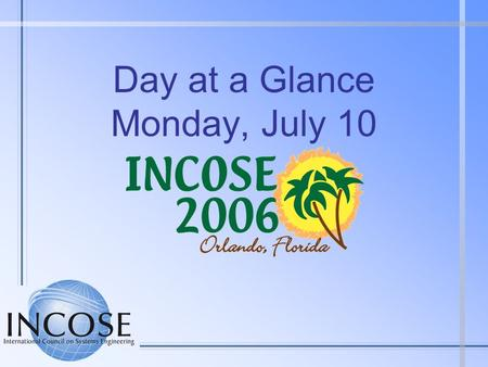 Day at a Glance Monday, July 10. Monday at a Glance 0700 - 0745Speakers/Session Chairs Breakfast - ChampionsGate 0700 - 1700Symposium Registration – Rotunda.
