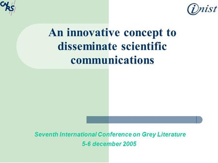 An innovative concept to disseminate scientific communications