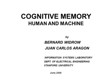COGNITIVE MEMORY HUMAN AND MACHINE