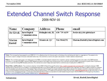 Doc: IEEE 802.11-06/0388r5November 2006 Submission Kwak, Rudolf, InterDigital 1 Extended Channel Switch Response Notice: This document has been prepared.